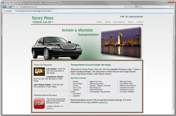 Torrey Pines Town Car Website